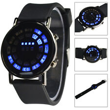 Black Magic Mirror Blue LED Matrix Circle Digital Sports Rubber Wrist Men Watch