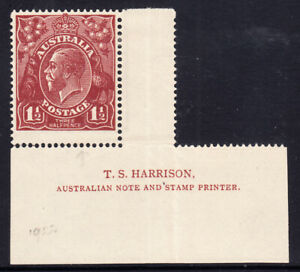 1922-Bright Red Brown.Harrison Imprint single. Electro 12.White flaw at base of