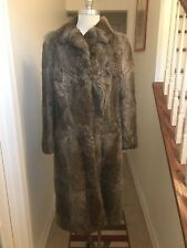 Vintage Rabbit Fur Coat Full Length Size M in Taupe Brown