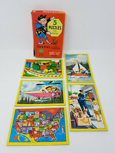 Vintage Warren Built-Rite Sta-N-Place Inlaid 5 Puzzles For Travel Set in box