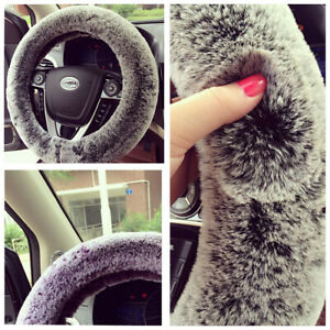 15inch 38cm Black/Gray Rabbit Fur Non-slip Car Steering Wheel Cover For Winter