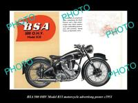 OLD LARGE HISTORIC PHOTO OF BSA MOTORCYCLE B33 MODEL ADVERTISING POSTER 1951