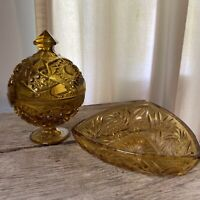 SET LOT Vintage Indiana Glass Amber Pedestal Glass Lid Candy Dish and Bowl
