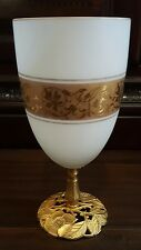 Italian Ormolu Gilt Opaline Glass Candy Dish Bowl Brass Mounted Footed Pedestal