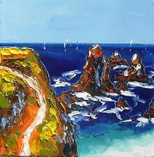 Tableau original de Nolac 30x30cm belle ile aiguilles peinture toile huile