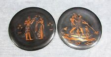 "Two Egyptian Engraved Etched Copper 9"" dia Round Wall Hangings Plaques FREE S/H"