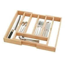 LARGE EXPANDABLE WOODEN CUTLERY DRAWER TRAY HOLDER WITH WHITE BASE