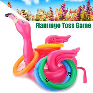 Pool Inflatable Flamingo Toss Throwing Ring Game Family Kids Play Fun Toy