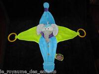 Mon Doudou & Compagnie d'Eveil Elephant Eléphant gris bleu vert Indidous anneaux