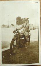 Motorcycle 1920s Realphoto Postcard: Military Man on Bike