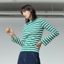 Warehouse Stripe Rib Top Green Size UK 14 Lf085 II 12