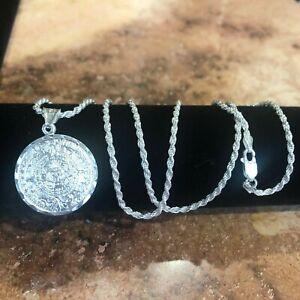 "925 Sterling Silver Azteca Aztec  Maya Calendar Pendant W/ Necklace 24""chain"