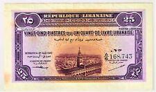 Lebanon: Republique Libanaise 25 Piastres 1.8.1942 Pick 36. Choice AU