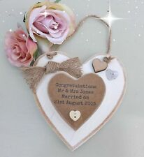PERSONALISED Heart Plaque WEDDING Anniversary Engagement gift VINTAGE Handmade