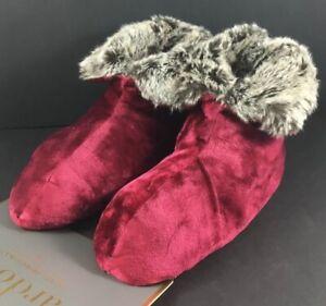 Ardour Velvet Berber Boot / Slipper Women's SIZE S/M Maroon NEW 100% Guaranteed
