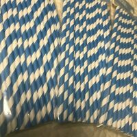 75 Blue & White Striped Paper Straws Baby Shower Birthday Party Supplies