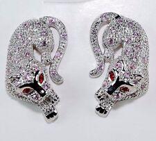 Fire Garnet & Pink Sapphire 925 Sterling Silver Leopard Earrings Jewelry