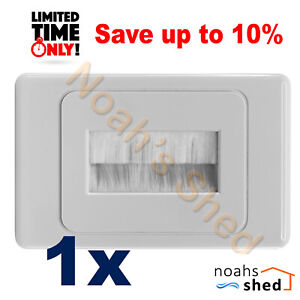 1 x Brush Wall Plate Cable Entry Inwall Management TV AV Home Theatre DIY White