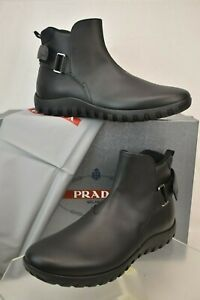 PRADA 4T3207 BLACK LEATHER BELTED BUCKLE LOGO STRAP SNEAKERS BOOTS 7 US 8
