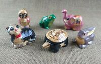 Paper Mache Animal Figure Ring or Trinket Box Lot of 7 Pieces Hand Decorated