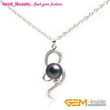 10-11mm Pearl Rhinestone White Gold Plated Octopus Frame Pendant for Necklace
