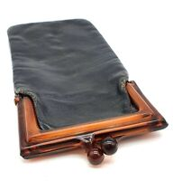 1950's vintage black leather and early plastic soft spectacle/glasses case