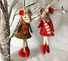 2x felt christmas tree mice hanging decoration mouse red scarf jumper