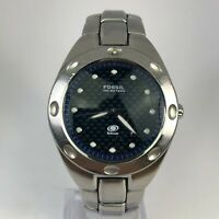 Fossil Mens AM3288 Blue Dial Silver Stainless Steel Quartz Analog Wristwatch