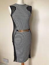 Ayanapa Stripe Gold Belt Bodycon Stretch Sheer Mesh Side Panel Dress BlackWhite
