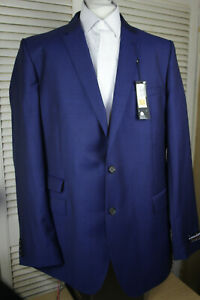 """M&S Pure Wool Blue Mens Alfred Brown Jacket Chest: 48"""" Extra Long New with Tags"""