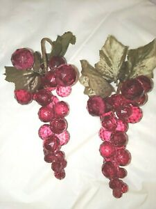 MCM BURGUNDY Acrylic 2 GRAPE CLUSTERS Ornamental wire leaves Faceted Fruit Large