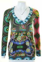 DESIGUAL Womens Top Long Sleeve Size 12 Medium Multicoloured Cotton  IM20