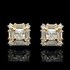 1.00 CT Princess Baguette & Round Diamond Stud Earrings In 14K Yellow Gold Over