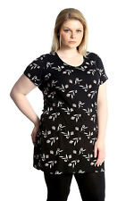 New Womens Tops Plus Size Ladies T-Shirt Floral Tunic Print Long Leaf Nouvelle