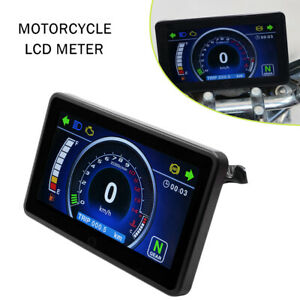 Modified Motorcycle Speedometer Odometer Tachometer RPM Speed Fuel LCD Gauge Kit