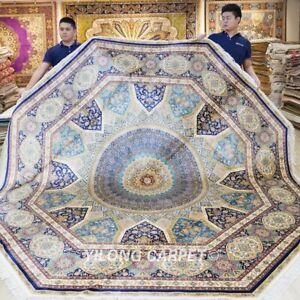 10x10ft Round Silk Rug Handmade Carpets Dome Pattern Handcraft Footcloth 499A