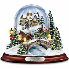 Thomas Kinkade Lighted & Musical Snow Globe Christmas Sculpture Holiday Statue