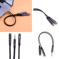 4 Pole 3.5mm Stereo Audio Male to 2 Female Headphone Mic Splitter Cable Adapter