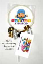 12 Pocoyo Party Favors Birthday Personalized 2.5 inch Lollipop Stickers