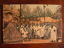 cpa senegal village porte maillot groupe costume animee