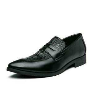 Mens Low Top Faux Leather Business Leisure Shoes Pointy Toe Work Office Slip on