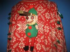 OOAK Evil Zombie Elves Lights Up Nordic Ugly Xmas Sweater Womens 2X  Mens XL