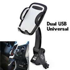 Dual USB Car Charger Holder Mount With Cigarette Lighter Chargers for Cell Phone