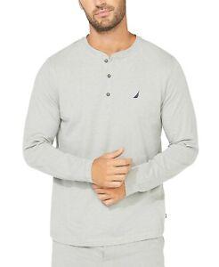 Nautica Mens Soft Breathable Long Sleeve Henley Pajama Shirt Gray Size Medium