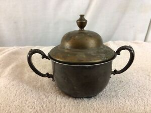 Vintage Collectible Brass Double Handled SUGAR BOWL With Lid pre-owned