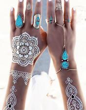 Gold leaf festival Indian Tribal ethnic Lotus flower Arm Body jewelry tattoo art
