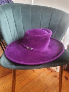Philip Treacy Purple Velour Trilby Fedora Hat