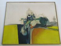 WALTER LITMAN JONES PAINTING LARGE ABSTRACT EXPRESSIONISM BLUE YELLOW MODERNISM
