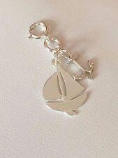 OOAK fatto a mano 925 argento Sterling Charm & Barca Ancoraggio Con Fibbia
