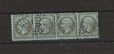 Napoleon III  bande de 4 du 1c olive  N° 19  oblitéré